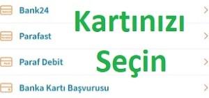 Halkbank kartını internete açılacak kart seçimi