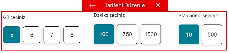 Vodafone yanımda uygulaması internet paketi oluşturma 2021