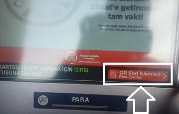 Ziraat ATM'si üzerinden QR Kod İle Para Çekme Adımları